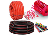 Corrugated conduit - Thermo-retractable sheath - Warning red grid